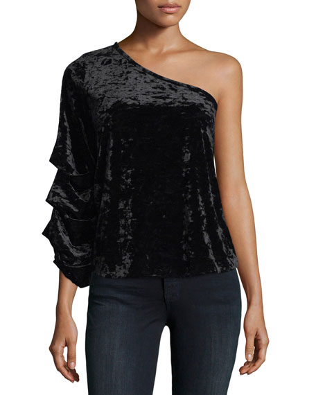 Collective Concepts One-Shoulder Velvet Blouse