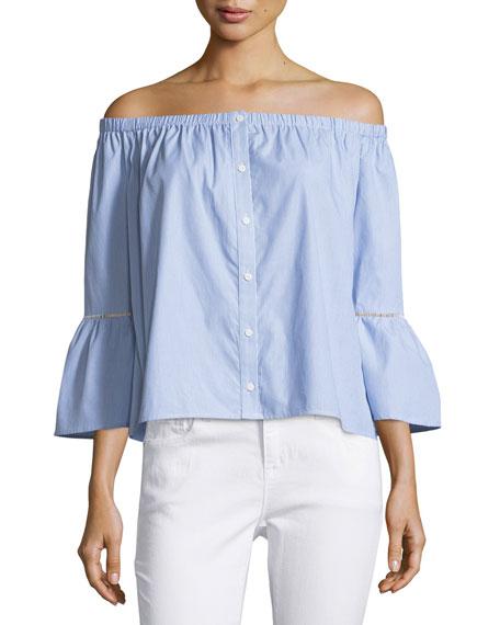 Off-the-Shoulder Striped Blouse