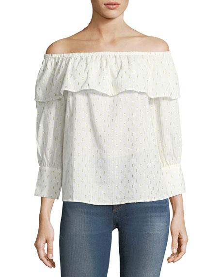Collective Concepts Off-the-Shoulder Cotton-Blend Blouse