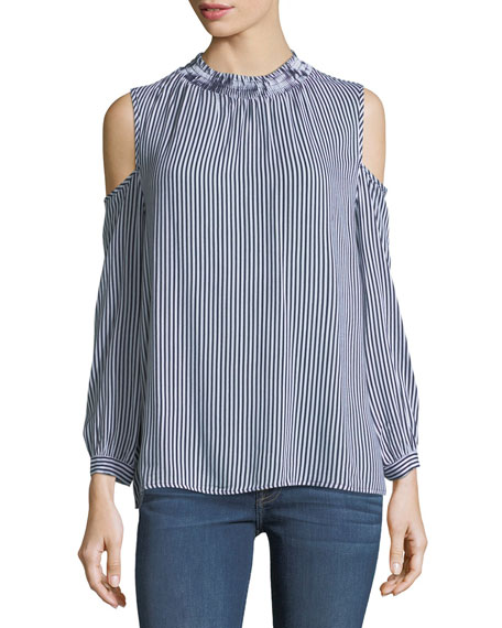 Cold-Shoulder Striped Blouse