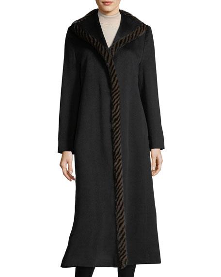 Fleurette Magnetic Wool Duster Coat w/ Spiral Mink