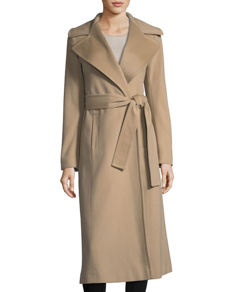 Fleurette Studio Notch-Collar Cashmere Long Wrap Coat