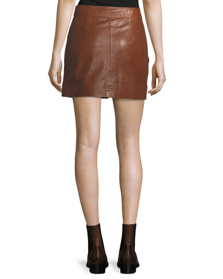 Monroe A-Line Cargo Leather Skirt