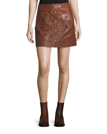 Veronica Beard Monroe A-Line Cargo Leather Skirt and