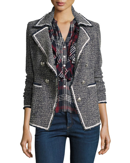 Veronica Beard Carroll Portrait-Neck Tweed Double-Breasted Jacket