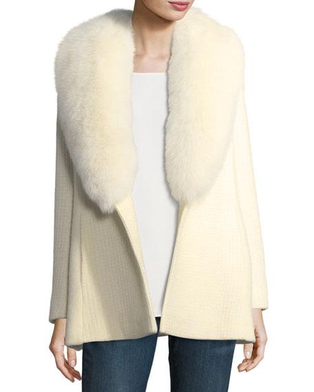 Textured Knit Belted Wrap Coat w/ Fox Fur Trim