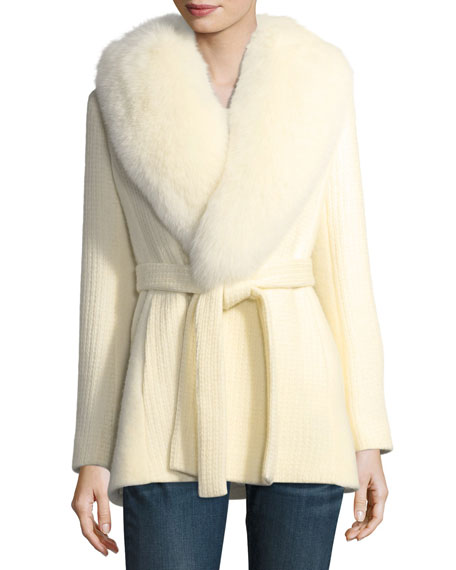 Fleurette Textured Knit Belted Wrap Coat w/ Fox