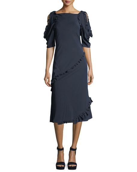 Burberry Didi Open-Shoulder Ruffled Dress
