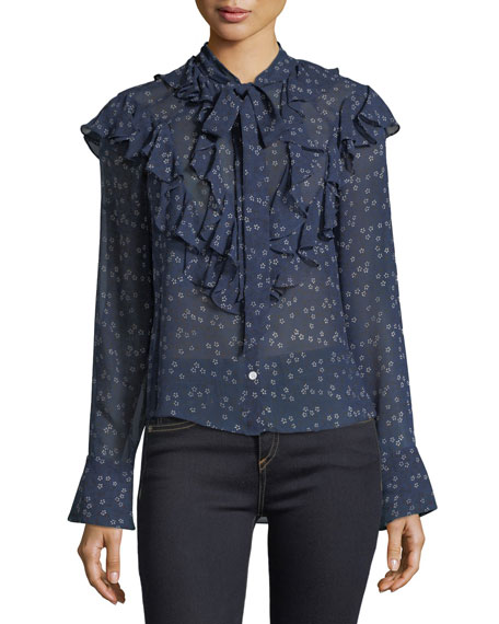 Veronica Beard Finley Ruffled Tie-Neck Floral-Print Blouse