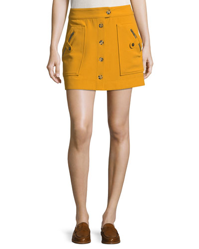 Monroe A-Line Button-Front Mini Skirt