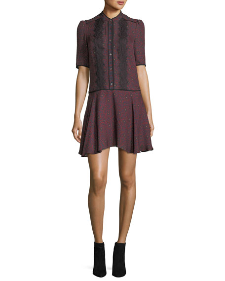 Alana Button-Front Printed Silk Dress w/ Lace