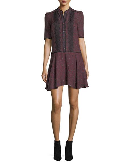 Veronica Beard Alana Button-Front Printed Silk Dress w/