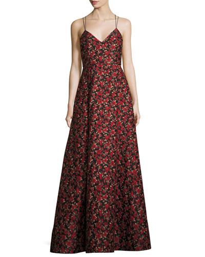 Marilla V-Neck Strappy Floral Jacquard Gown