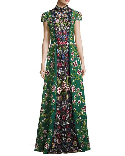 Nidia Embellished Mock-Neck Evening Gown