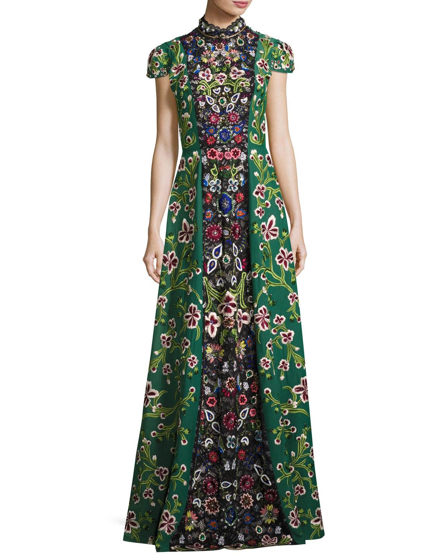 Alice Olivia Nidia Embellished Mock Neck Evening Gown