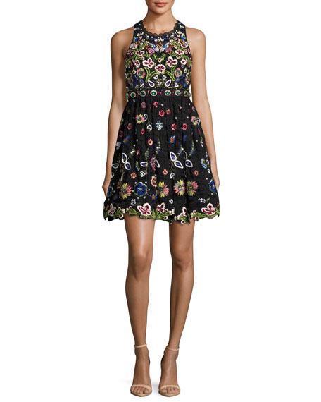 Alice + Olivia Talulah Embroidered Racerback Sleeveless Cocktail