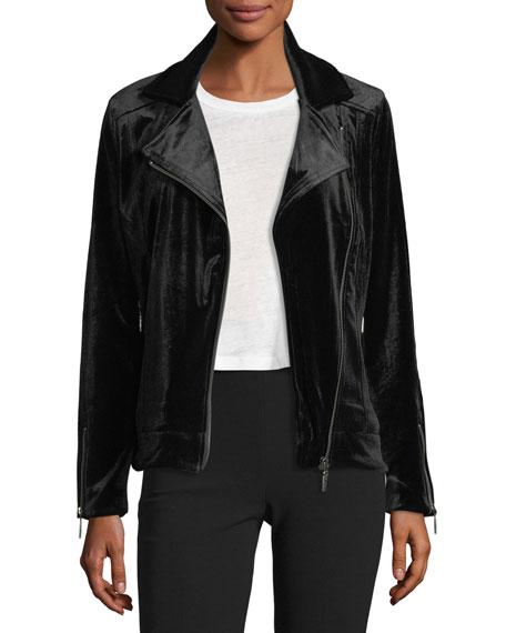 Brandon Thomas Velvet Moto Zip-Front Jacket