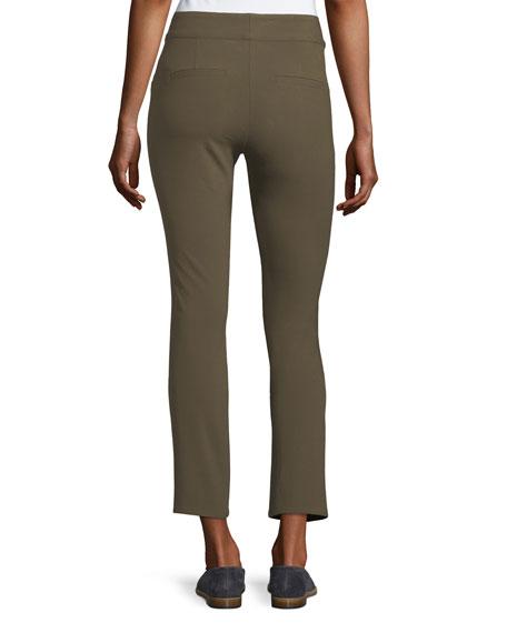 Adelaide Zipper-Pocket Skinny Straight-Leg Pants