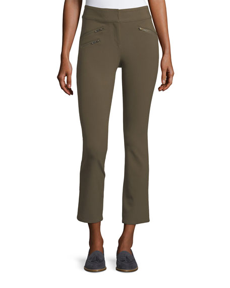 Adelaide Zipper-Pocket Skinny Straight-Leg Pants