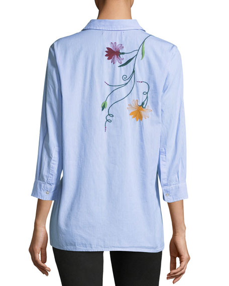 Floral-Embroidered Blouse