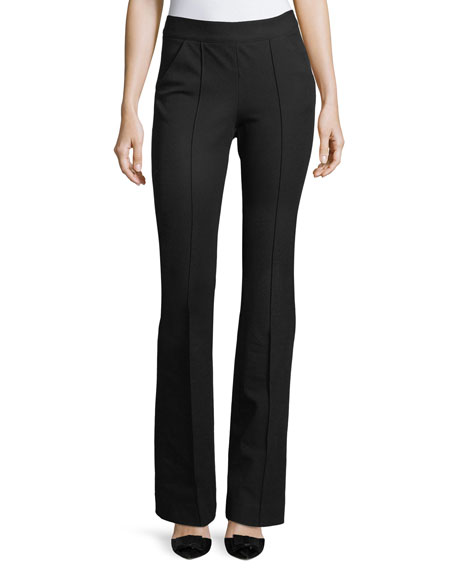 Veronica Beard Evelyn Back-Zip Cotton-Stretch Flared Pants