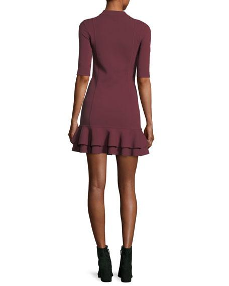 Aubrey High-Neck Fitted Mini Dress w/ Tiered Hem