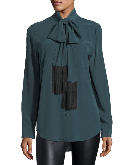 Essential Tie-Neck Silk Blouse