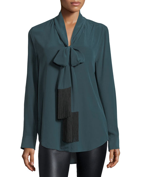 Equipment Essential Tie-Neck Silk Blouse