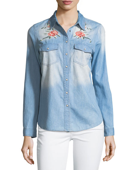 Distressed Embroidered Denim Blouse