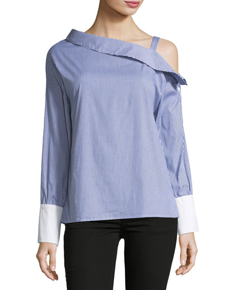 Brandon Thomas Asymmetric-Neck Striped Blouse