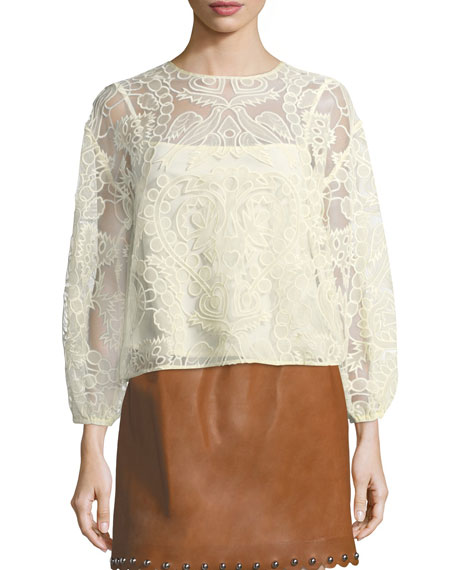 REDValentino Ramage Embroidered Organza Tulle Blouse