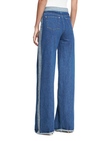 Stone-Washed Wide-Leg Denim Jeans w/ Racing Stripe