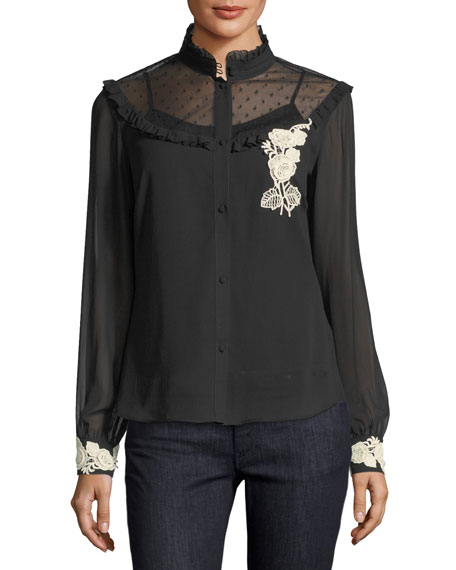 Long-Sleeve Blouse w/ Point d'Esprit & Floral Appliqué Trim