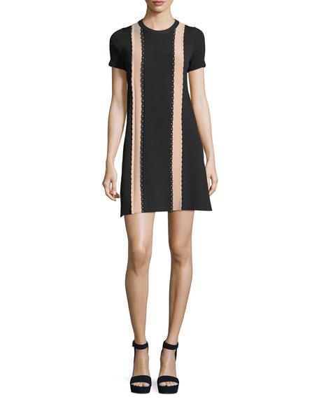 Short-Sleeve Scalloped Vertical Stripe Shift Dress