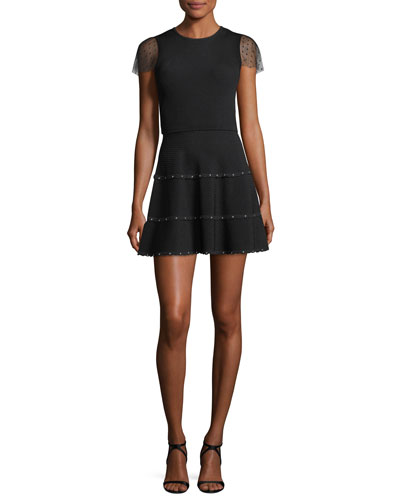 Short-Sleeve Scallop-Trimmed Ribbed Fit-&-Flare Dress