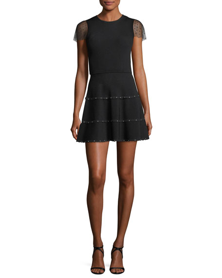 REDValentino Short-Sleeve Scallop-Trimmed Ribbed Fit-&-Flare Dress