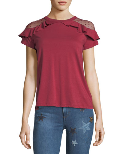 Cotton T-shirt w/ Ruffle-Trimmed Point d'Esprit Shoulders