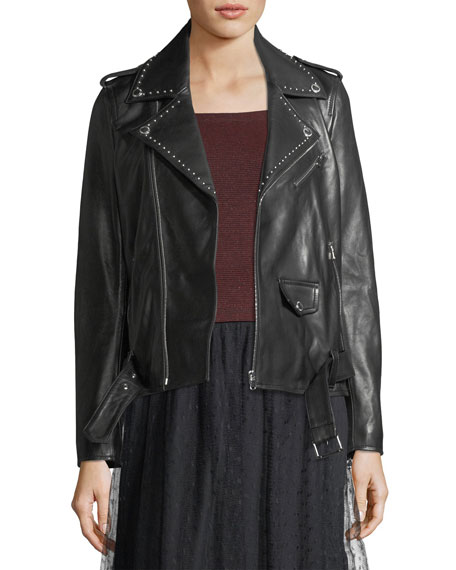 REDValentino Studded Lambskin Leather Jacket
