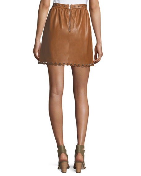 Studded Scalloped Lambskin Leather Skirt