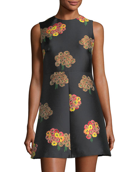 REDValentino Sleeveless Flying Bouquet Brocade A-Line Dress