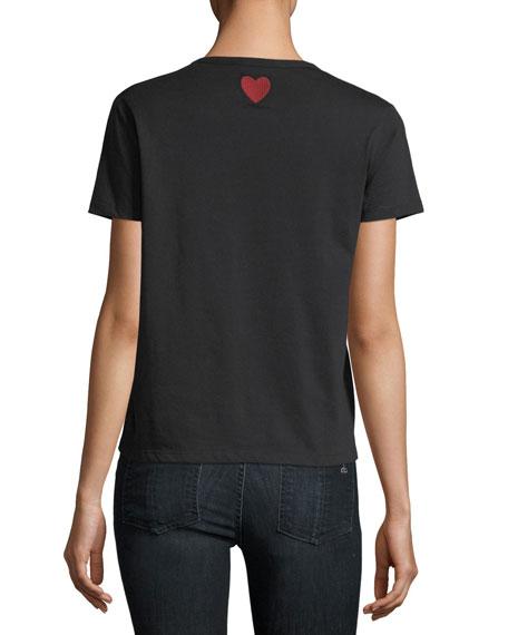 Short-Sleeve T-Shirt w/ Point d'Esprit Yoke & Eye Embroidery