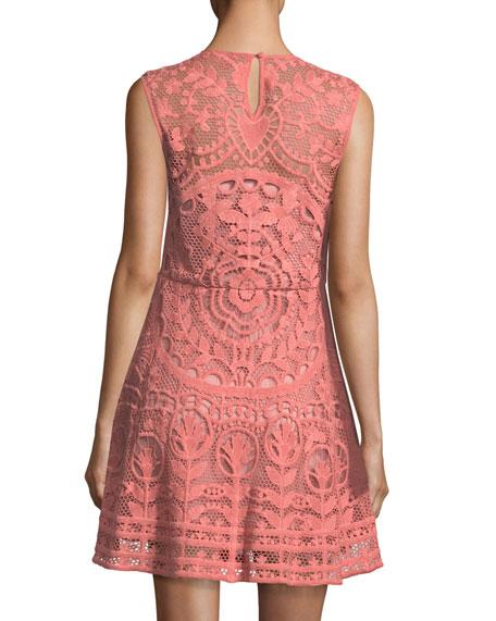 Sleeveless Fractured Rose Tulle Macramé Dress