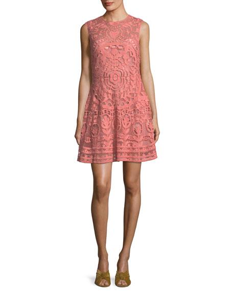 REDValentino Sleeveless Fractured Rose Tulle Macram?? Dress
