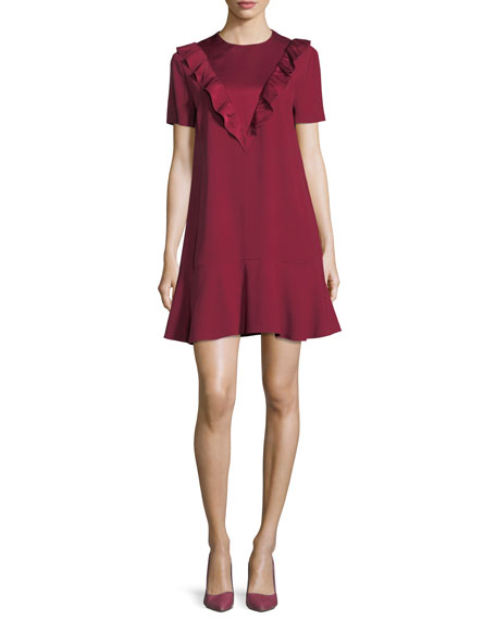 Short-Sleeve Ruffled Satin Crepe Dress