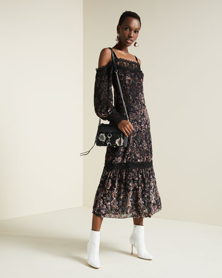 Picadilly Cold-Shoulder Velvet Burnout Midi Dress