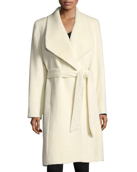 Sofia Cashmere Belted Shawl-Collar Alpaca Wrap Coat