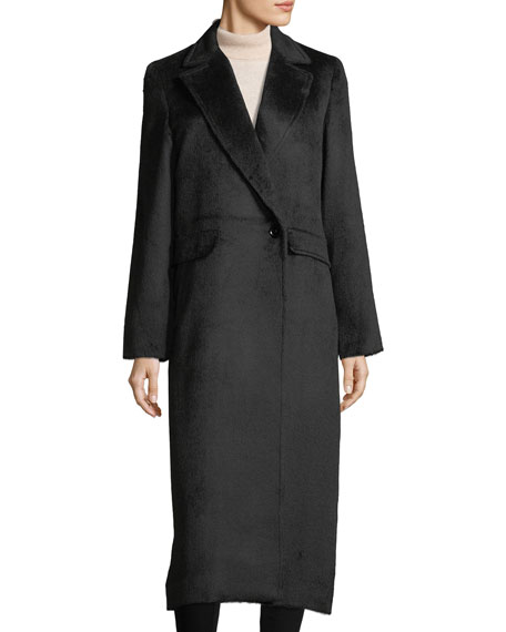Sofia Cashmere Notched-Lapel Wrap Alpaca Duster Coat