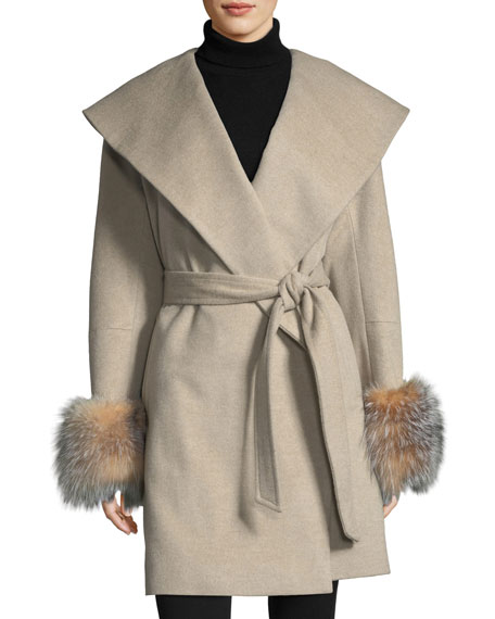 Sofia Cashmere Fur-Cuff Open-Front Belted Wool-Cashmere Wrap Coat