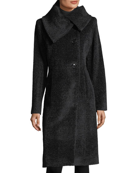 Sofia Cashmere Envelope-Collar Wool Coat