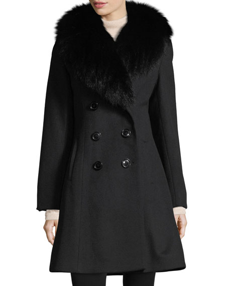 Fur-Trim Double-Breasted Wool-Cashmere Coat